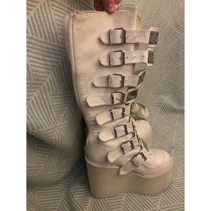 Demonia White Morpheus Platform Boots
